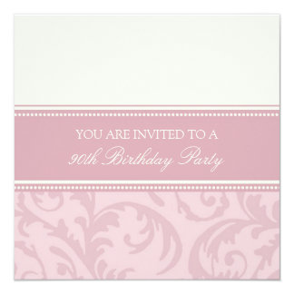 Pink Cream Floral 90th Birthday Party Invitations