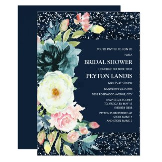 Pink Cream Floral Navy Blue Stardust Bridal Shower Invitation
