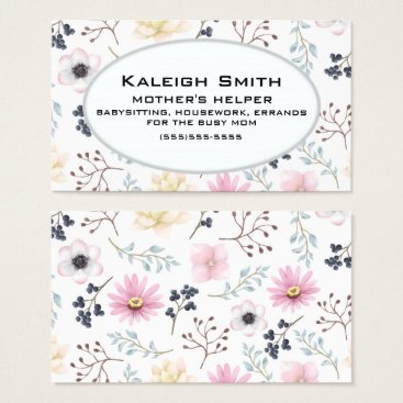 Professional Business Pink Cream Floral on White Mother's Helper Business Card