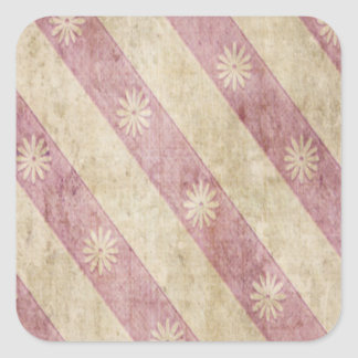 Pink Cream Floral Stripe Grunge Sticker