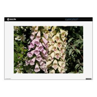 "Pink & cream foxglove flowers 15"" laptop skin"