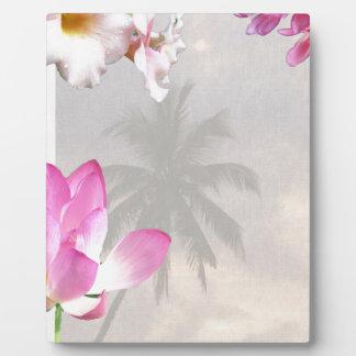 PINK CREAM HIBISCUS FLOWERS TROPICAL NATURE ROMANT PLAQUE