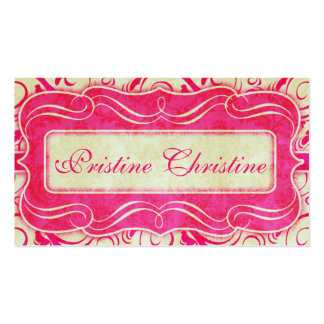 Pink/Cream Lace Frame Business Cards