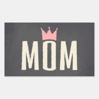 Pink & Cream Mom Chalkboard Text Design Rectangular Sticker