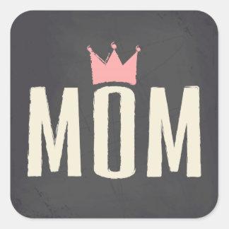 Pink & Cream Mom Chalkboard Text Design Square Sticker