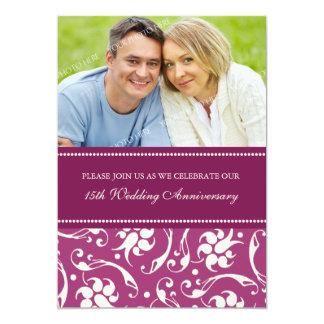 Pink Cream Photo 15th Anniversary Party Invitation