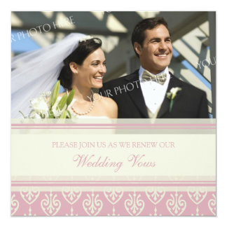 Pink Cream Photo Wedding Vow Renewal Invitations