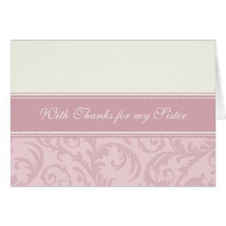 Pink Cream Swirls Sister Thank You Bridesmaid Card