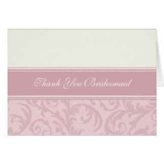 Pink Cream Swirls Thank You Bridesmaid Card