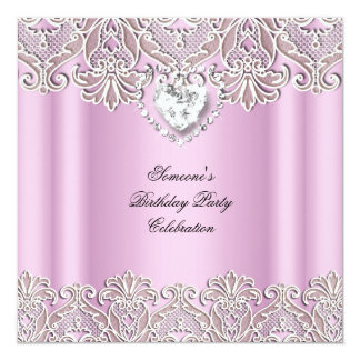 Pink Cream White Lace Bow Diamonds Images Party Card