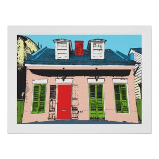 Pink Creole Cottage print