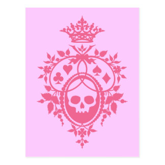 Pink Crest with Skull and Cardsuits Postcard