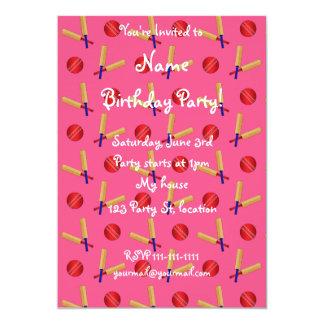 pink cricket pattern 5x7 paper invitation card