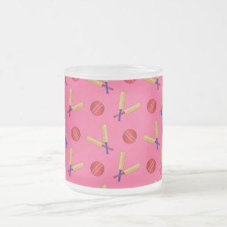 pink cricket pattern 10 oz frosted glass coffee mug