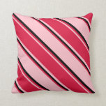 [ Thumbnail: Pink, Crimson & Black Colored Pattern of Stripes Throw Pillow ]