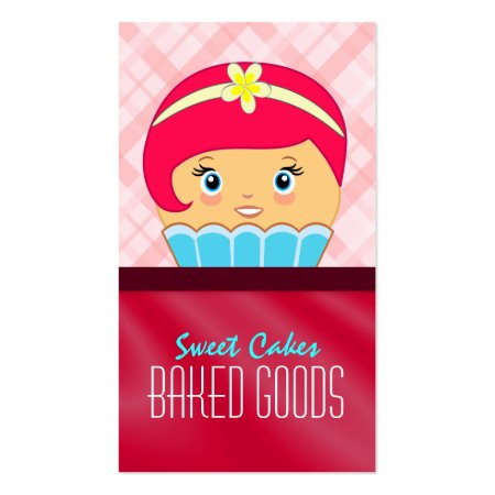 Pink Plaid and Crimson Red Silk Cupcake Queen Business Cards