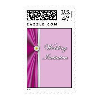 Pink Crimson Wedding Invitation Postage
