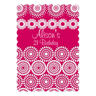Pink crochet lace girly vintage flowers Birthday Card