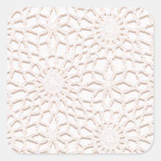 Pink Crochet Square Sticker