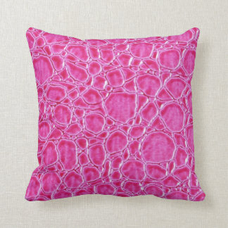 Pink crocodile leather look pillow