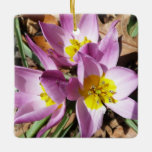 Pink Crocuses Early Spring Floral Ceramic Ornament