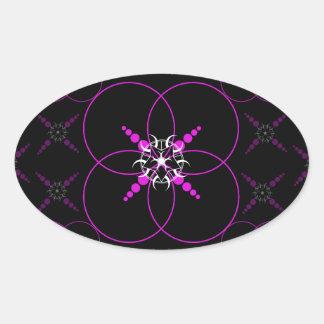 Pink Crop Circles Oval Sticker