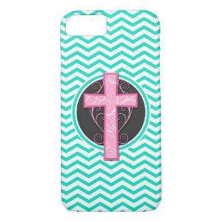 Pink Cross; Aqua Green Chevron iPhone 7 Case