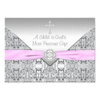Pink Cross Baby Girl Baptism Christening 5x7 Paper Invitation Card