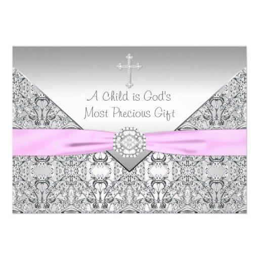 Pink Cross Baby Girl Baptism Christening Custom Invite