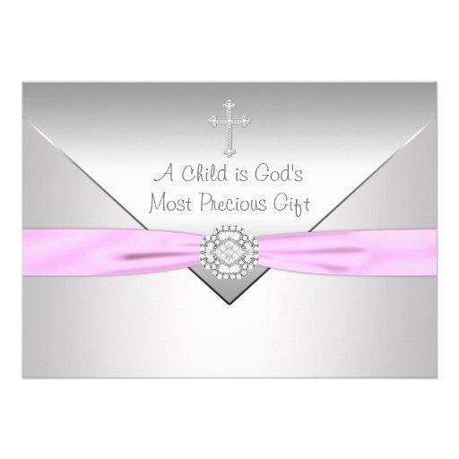 Pink Cross Baby Girl Christening Announcement