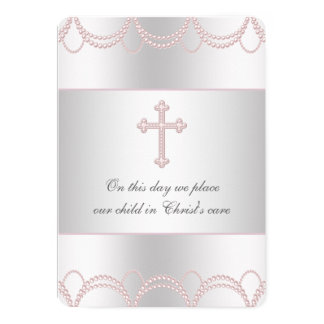 Pink Cross Baby Girl Christening Baptism Card
