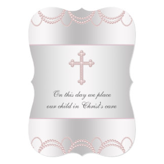 "Pink Cross Baby Girl Christening Baptism 5"" X 7"" Invitation Card"