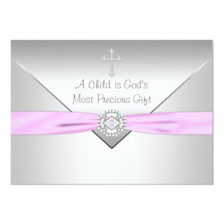 Pink Cross Baby Girl Christening Announcement