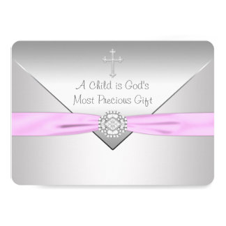 "Pink Cross Baby Girl Christening 5"" X 7"" Invitation Card"