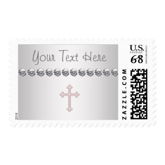 Pink Cross Baby Girl Christening Postage Stamps