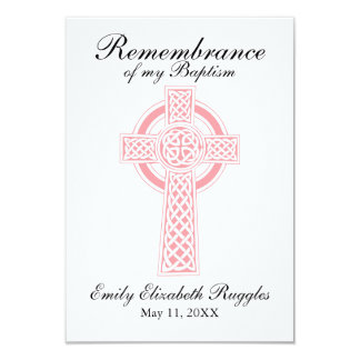 Pink Cross Baptism Christening Prayer Card