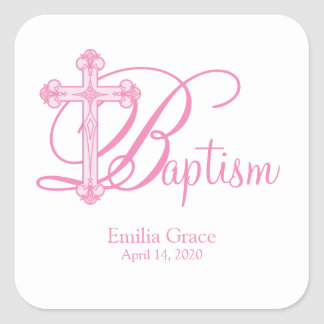 pink cross BAPTISM custom party favor label