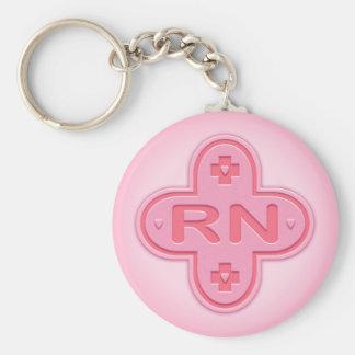 Pink Cross Basic Round Button Keychain