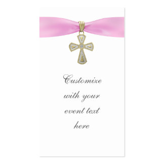 Pink Cross Bomboniere Tags Business Card
