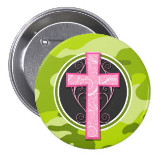 Pink Cross; bright green camo, camouflage Button