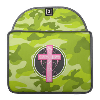 Pink Cross; bright green camo, camouflage MacBook Pro Sleeve