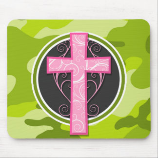 Pink Cross; bright green camo, camouflage Mouse Pad