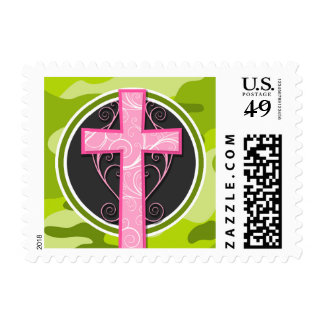 Pink Cross; bright green camo, camouflage Postage