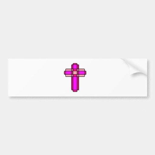 Pink Cross Bumper Sticker
