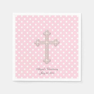 Pink Cross Christening Napkin