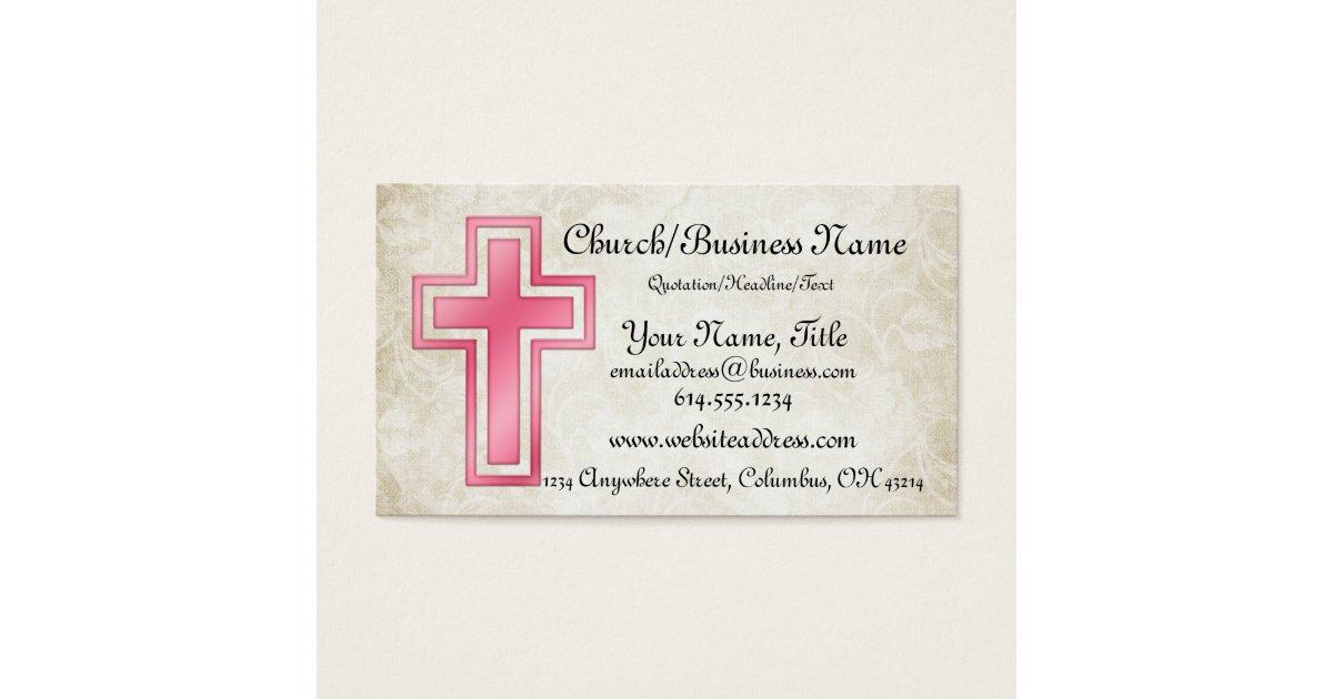 Pink Cross Christian Religious Business Cards   Zazzle.com