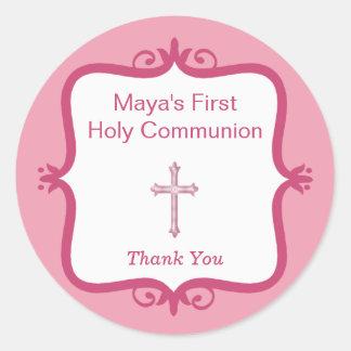 Pink Cross Communion Round Sticker