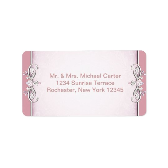Pink Cross Damask Flower Address Labels