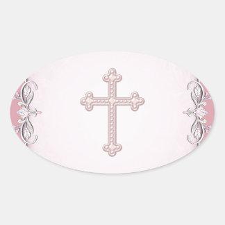 Pink Cross Damask Flower Envelope Seals Oval Sticker