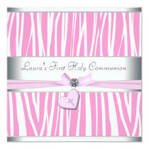 Pink Cross First Communion 5.25x5.25 Square Paper Invitation Card